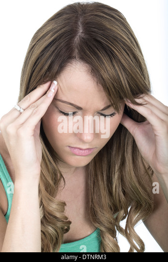Tense Young Woman With a Headache - Stock Image