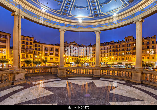 View from bandstand on Plaza del Castillo square in the evening, Pamplona, Navarre, Spain - Stock Image