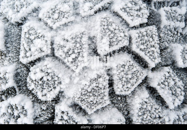 Super Jeep tyres with snow, Iceland, Europe - Stock Image