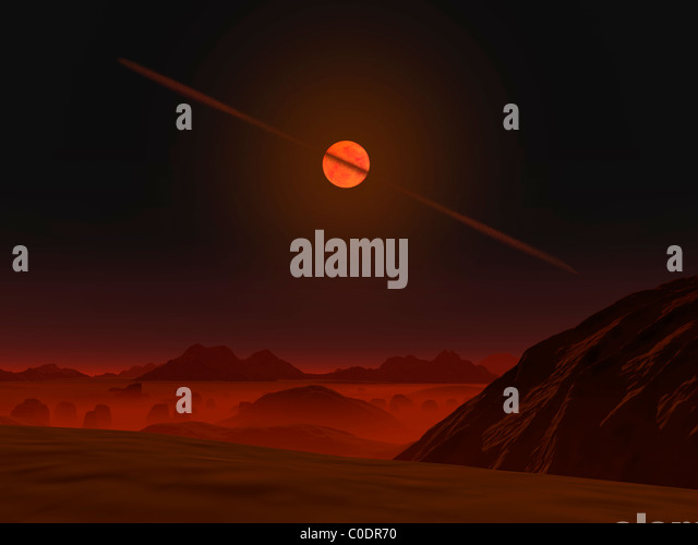 A view across a hypothetical primitive alien planet towards a brown dwarf in the sky. - Stock Image