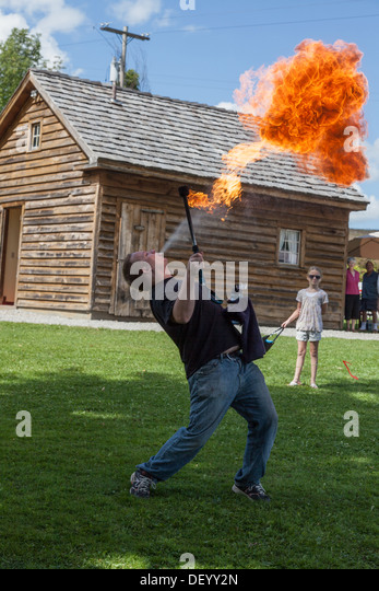 Fire breathing entertainment at Medieval Festival, upstate New York, Montgomery County - Stock Image
