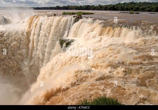 Brazil Argentina Panama border Iguazu National park Iguazu Falls  - Stock Image