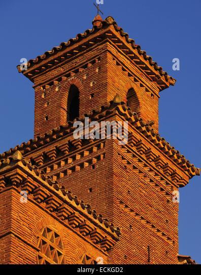 Spain, Aragon, Zaragoza, Torralba de Ribota, Saint Felix, listed as World Heritage by UNESCO, corner turret at sunrise - Stock Image