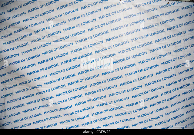 Mayor of London repeat pattern fence screen at Trafalgar Square in central London - Stock Image