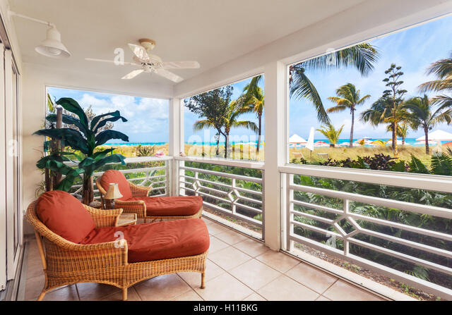 Oceanfront screened porch - Stock Image