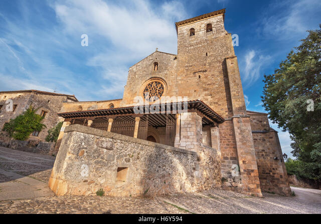 San Cosme Collegiate Church, Covarrubias, Burgos, Spain. It is a 15th century Gothic church. - Stock Image