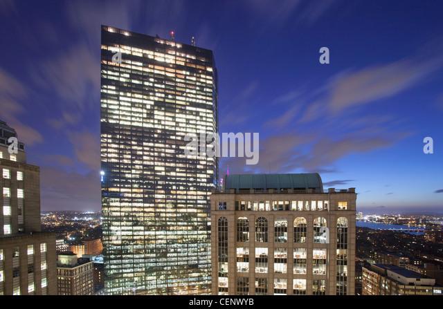 Buildings lit up at dusk, John Hancock Tower, Boston, Massachusetts, USA - Stock Image