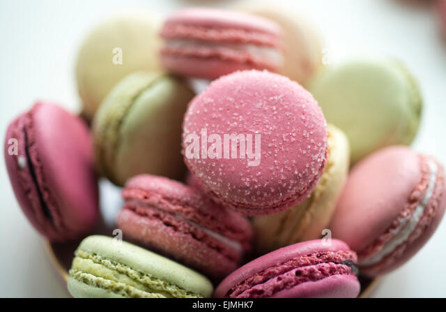 Pastel-colored French macarons - Stock Image