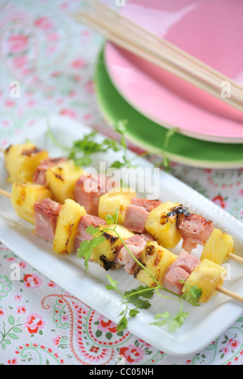 Ham and Pineapple Skewers - Stock Image