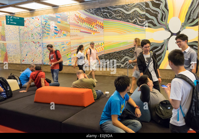 Sydney Australia NSW New South Wales UTS University of Technology Sydney campus Library student Asian man teen friends - Stock Image