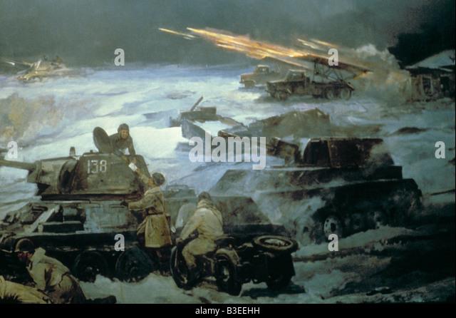 Russian tanks/ Propaganda painting/ WWII - Stock-Bilder