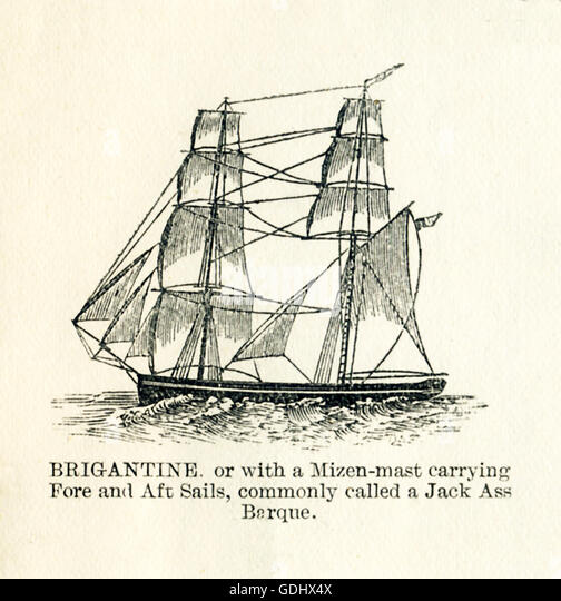 The vessel pictured in this 19th-century drawing is a brigantine, or with a mizen-mast carrying fore and aft sails, - Stock-Bilder