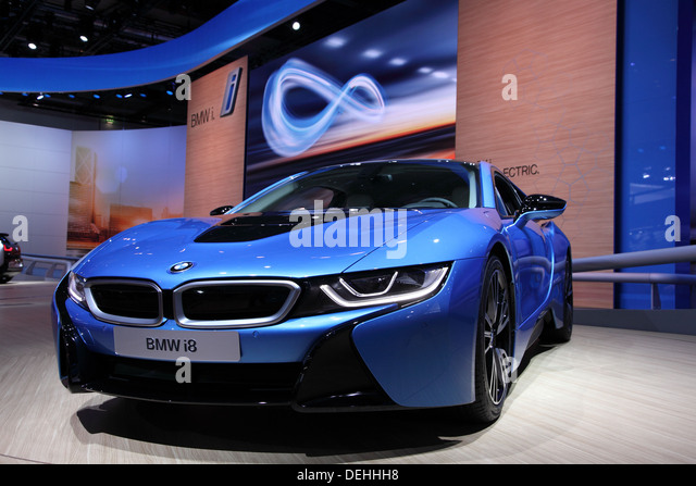 International Motor Show in Frankfurt, Germany. New BMW i8 Electric Car at the 65th IAA in Frankfurt, Germany on - Stock Image