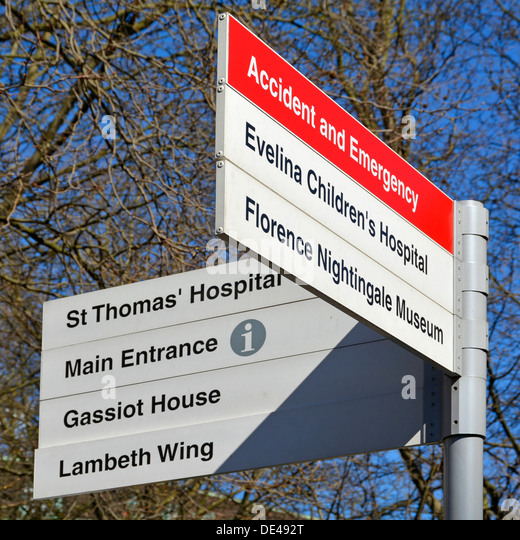 Sign post for St Thomas Hospital and associated facilities - Stock Image