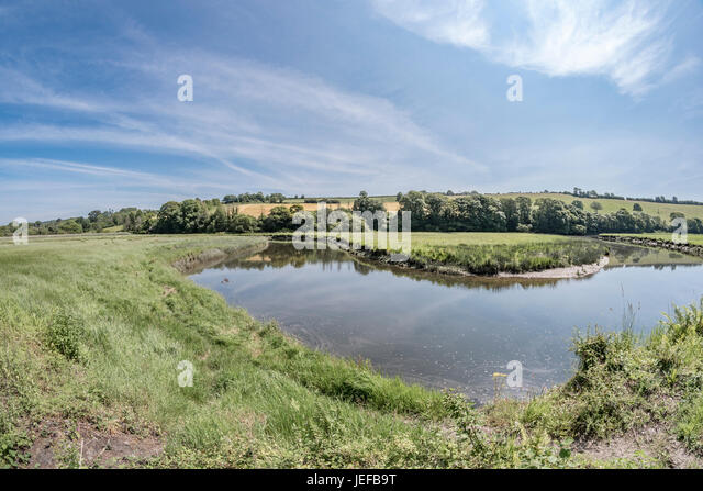 Wide angle fisheye view of a bend in the River Fowey at Lostwithiel, Cornwall. - Stock Image