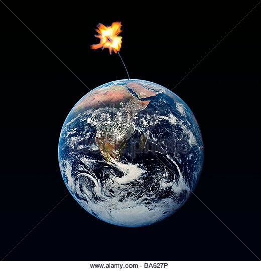 Lighted dynamite fuse attached to globe - Stock Image