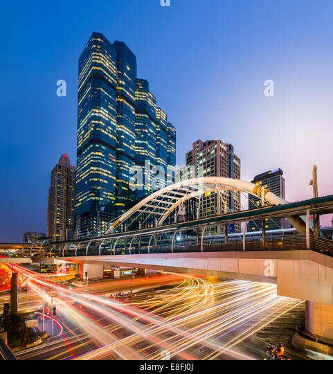 Thailand, Bangkok, Bang Rak District, View of Chong Nonsi BTS Station at night - Stock Image