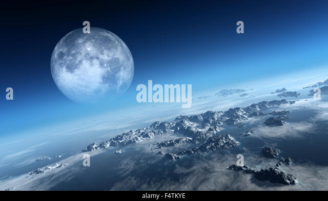 Planet Earth icy ocean and rocky islands with moon seen from space (Texture moon-map for 3d art from NASA) - Stock Image