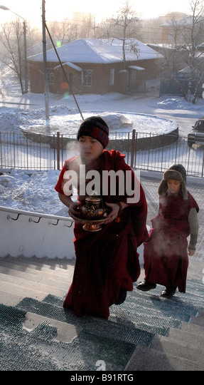Minus 40 degrees centigrade temperatures have been registered in the Tuva Republic - Stock Image