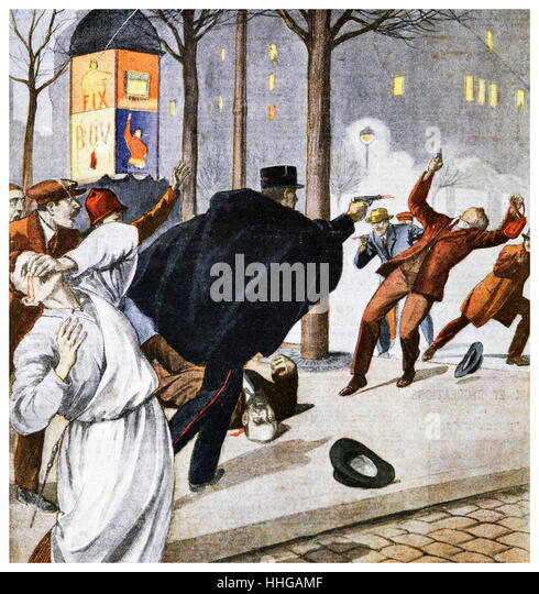 Illustration depicting French policeman shooting a gunman in a gunfight in a Paris street. 1925 illustration from - Stock Image