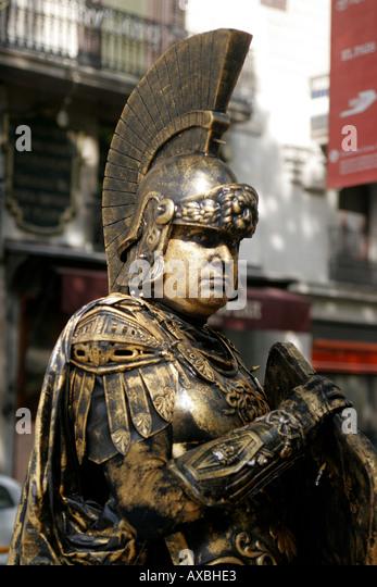 spain Barcelona ramblas street artists Roman warrior - Stock Image