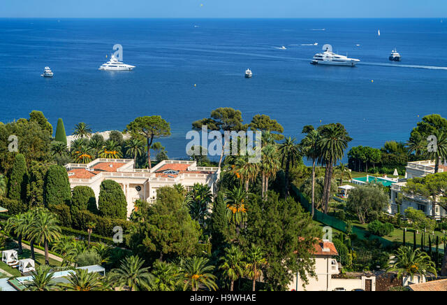 Saint Jean Cap Ferrat, Luxery Villa, Yachts, Meditarrenean Sea, Cote d Azur, France, Europe - Stock Image