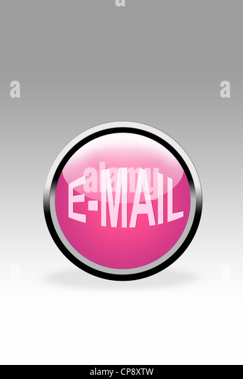 Pink button showing e-mail symbol, close up - Stock Image