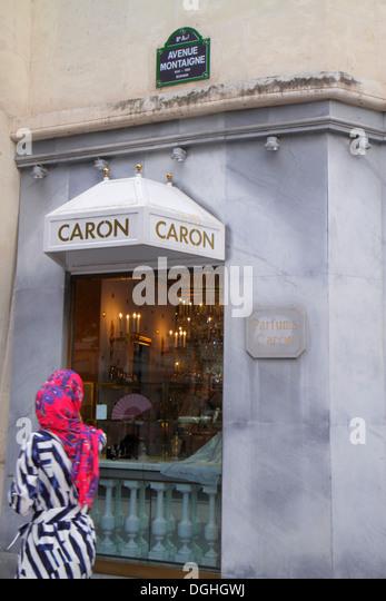 Paris France Europe French 8th arrondissement Avenue Montaigne Parfums Caron shopping perfume shop store exterior - Stock Image