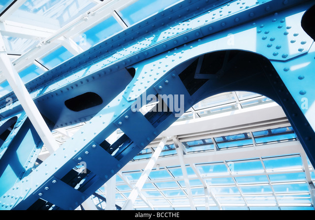 Abstract modern construction Blue tint - Stock Image