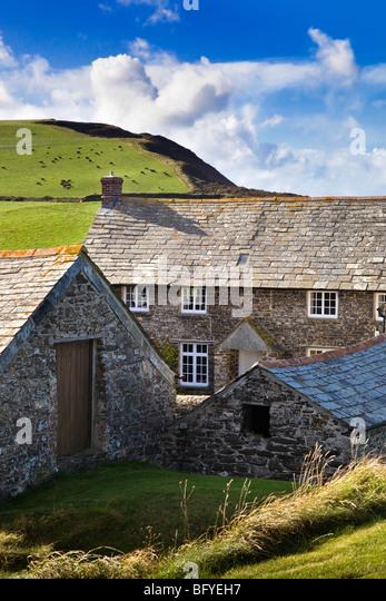Trevigue farmhouse; Near Crackington Haven; Cornwall - Stock Image