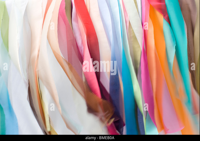 Multi coloured piece of cloth, close-up - Stock Image