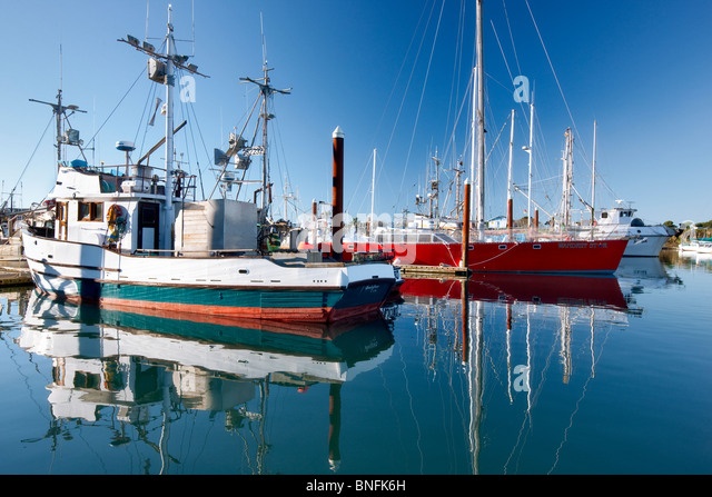Boats in Brookings Harbor with reflection. Oregon - Stock Image