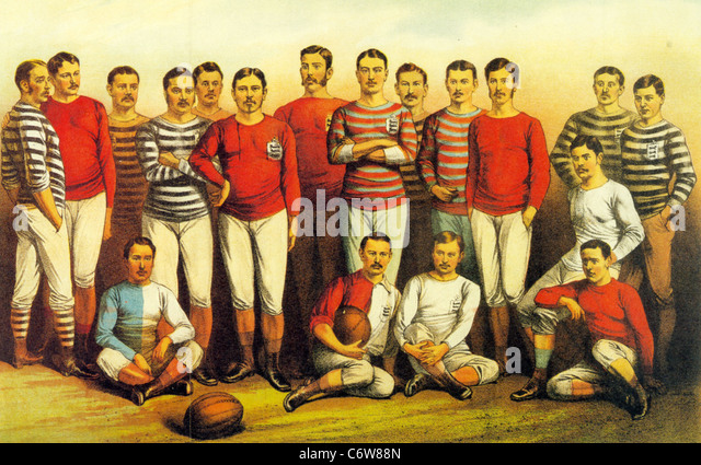 ENGLISH FOOTBALLERS OF 1881 as shown in the Boys Own Magazine - Stock Image