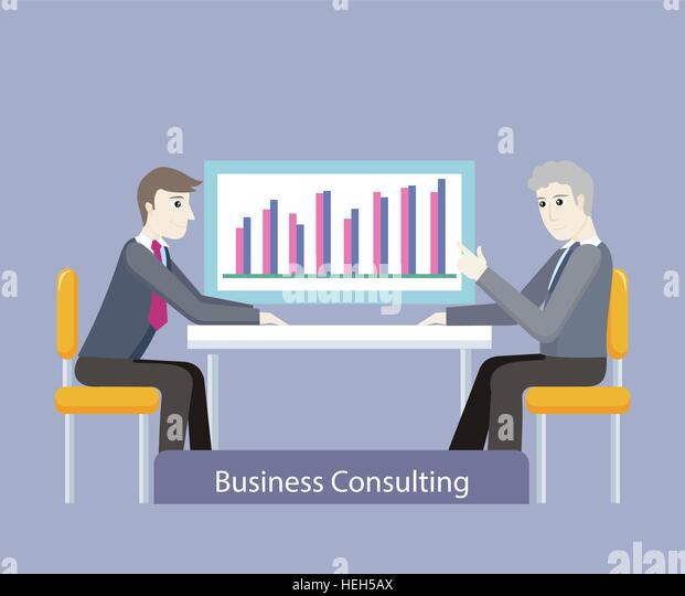 Business consulting. People on negotiations. Two businessman sitting on the chairs at the negotiating table and - Stock-Bilder