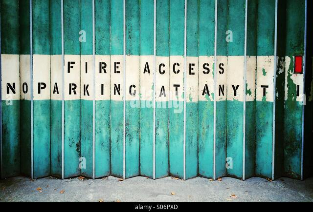 No Parking. Fire Access shutters - Stock Image