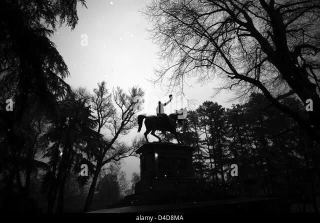 Milan. Sempione park. Statue of a man on horseback - Stock Image