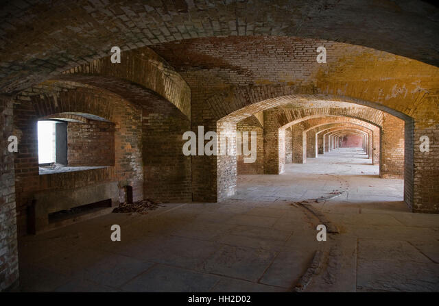 Arches within the brick walls of Fort Jefferson-Dry Tortugas National Park - Guardian of the Gulf - Stock Image