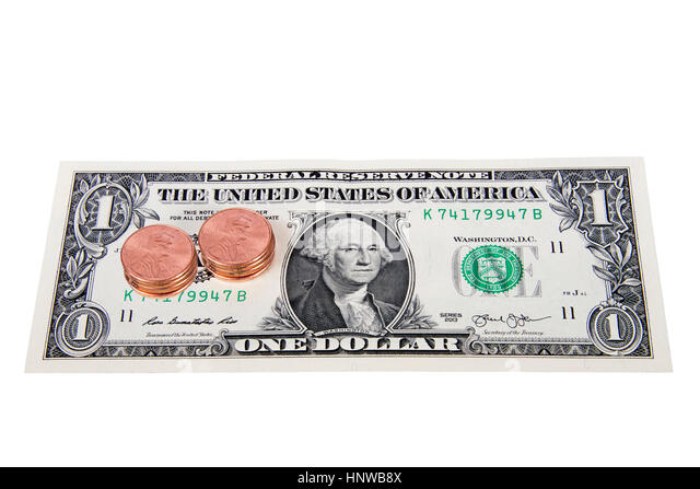 Pennies on the dollar. Metaphor or idiom for good deal or deflation. Much cheaper then it used to be. - Stock Image