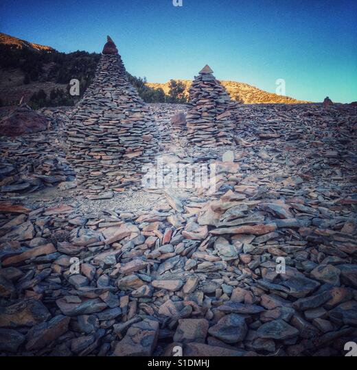 Cairns on Mt Shasta - Stock Image