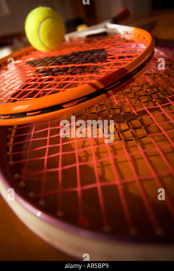 close up of tennis rackets - Stock Image