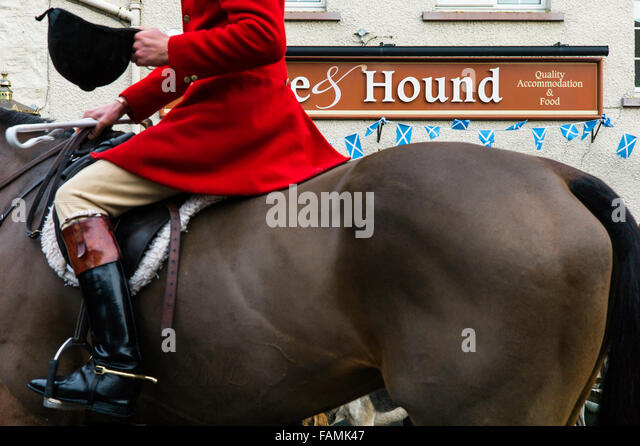Bonchester Bridge, Hawick, Scotland, UK. 1st January 2016. The Jedforest Hunt hold their traditional meet in Bonchester - Stock Image