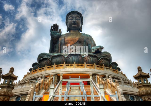 Tian Tan Buddha (Great Buddha) is a 34 meter Buddha statue located on Lantau Island in Hong Kong. - Stock Image