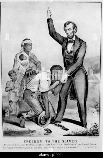 FREEDOM TO THE SLAVES  Currier & Ives print about 1863 - Stock Image