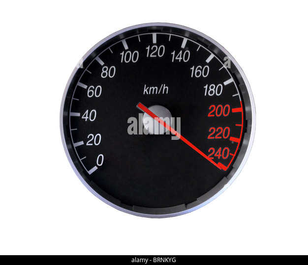 Speedometer isolated on white, with clipping path - Stock Image