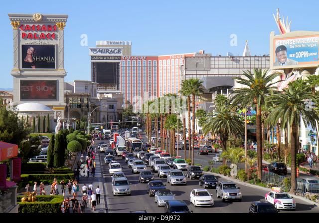 Nevada Las Vegas The Strip South Las Vegas Boulevard Caesars Palace Las Vegas Hotel & Casino Treasure Island - Stock Image