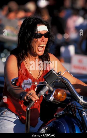 Daytona Beach Florida fl bike week woman with fierce scream - Stock Image