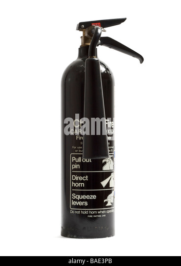 Old carbon dioxide fire extinguisher on white background - Stock Image