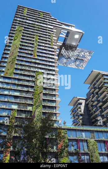 Sydney Australia NSW New South Wales Chippendale One Central Park apartment building complex vertical gardens cantilever - Stock Image