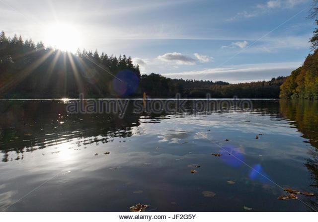 Sun Shining Through Over Autumn Trees Surrounding Lake - Stock Image