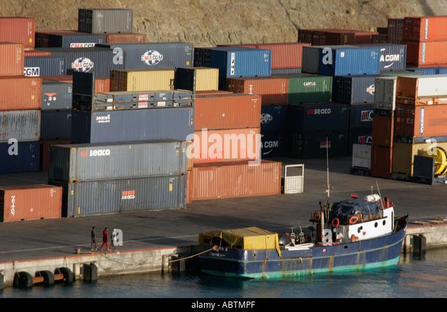Sint Maarten Dutch Philipsburg Pointe Blanche port cargo containers - Stock Image